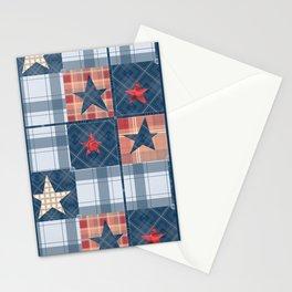 Blue denim plaid patchwork . Stationery Cards