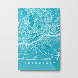 Frankfurt Map | Blue & Cyan | More Colors, Review My Collections Metal Print