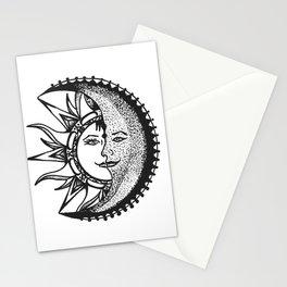 'El Sol Y La Luna' Sun and Moon Original Art, Space Wall Decor Stationery Cards