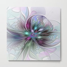 Colorful Fantasy Abstract Modern Fractal Flower Metal Print