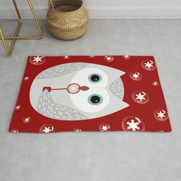 Christmas owl on red Rug