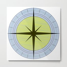 Blue & yellow compass Metal Print