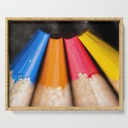 Macro photo of coloured pencils Serving Tray