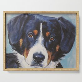 Entlebucher Mountain Dog portrait art from an original painting by L.A.Shepard Serving Tray