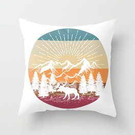 Moose In The Mount Forest Throw Pillow