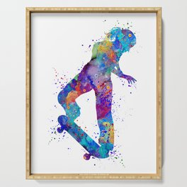 Girl Skateboard Colorful Watercolor Sports Art Serving Tray