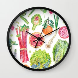 Spring Harvest Watercolour - White Wall Clock