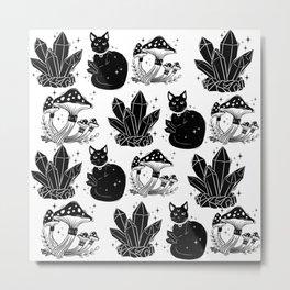 magic cat pattern, witch cat pattern, halloween cat pattern Metal Print