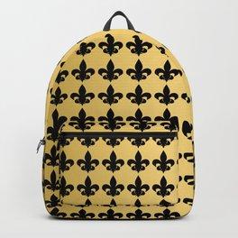 Fleur de Lis Pattern in Black on Gold Backpack