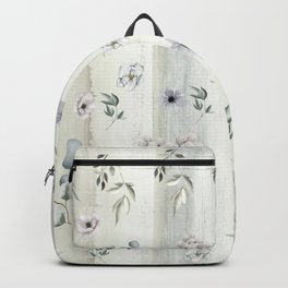 Winter Watercolor Flowers and Leaves Backpack