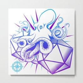 D20 Octopus with Advantage Metal Print