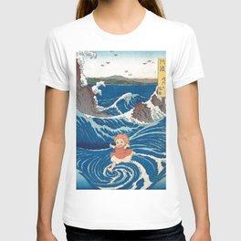 Ponyo and vintage japanese woodblock mashup T-shirt