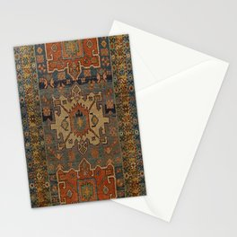 Persia Heriz 19th Century Authentic Colorful Orange Blue Green Vintage Patterns Stationery Cards