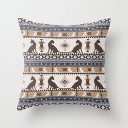 Boho cats   Oriental shorthair tan Throw Pillow