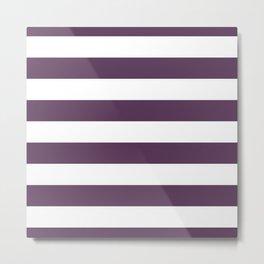 Dark Inky Plum Purple and White Cabana Stripes Metal Print
