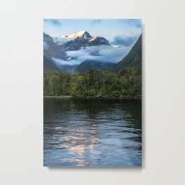 Sunset in beautiful Harrison Cove at Milford Sound Metal Print