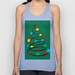 Christmas Tree Minimal Design Art Red Blue Green Unisex Tank Top