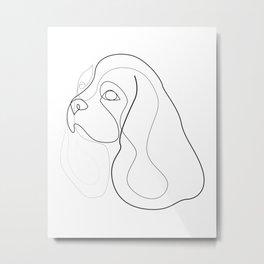 King Charles Cavalier - Spaniel - one line drawing Metal Print