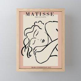 Henri matisse sleeping woman, matisse cut outs, cream and pink Framed Mini Art Print