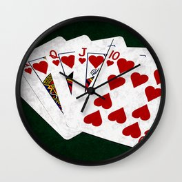 Poker Royal Flush Hearts Wall Clock