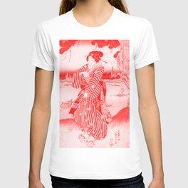 Geisha Standing on the Bank of the Sumida River - Vintage Japanese Art Print T-shirt