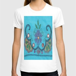 Kantha Fabric Art On Turquoise Pure Silk T-shirt