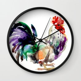 Rooster, rooster art, design artwork watercolor illustration farm rooster kitchen Wall Clock