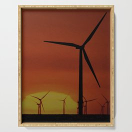 Windmills at Sunset  Serving Tray