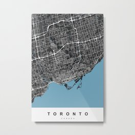 Toronto Map | Canada | Black & Blue | More Colors, Review My Collections Metal Print