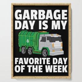 garbage truck garbage collection man Serving Tray