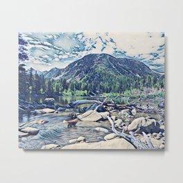 Golden Retriever. Mountain Lake Trail Metal Print