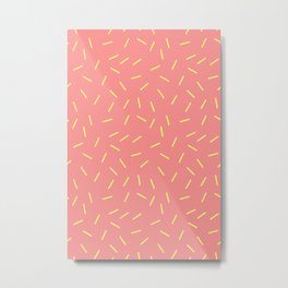 Memphis Sweet - Coral Yellow Metal Print