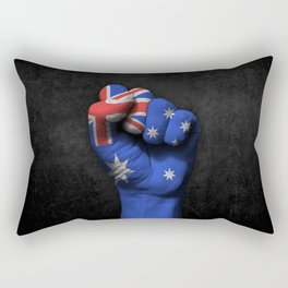 Australian Flag on a Raised Clenched Fist Rectangular Pillow