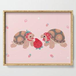Tortoises love strawberries Serving Tray