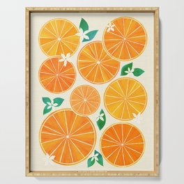 Orange Slices With Blossoms Serving Tray