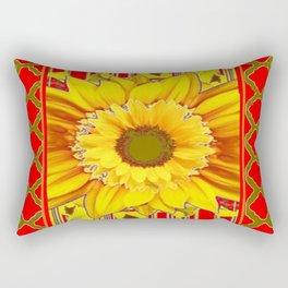 AVOCADO COLOR RED YELLOW SUNFLOWER ART Rectangular Pillow