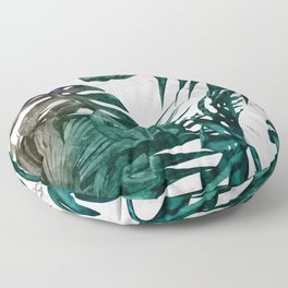 Tropical Palm Leaves on Marble Floor Pillow