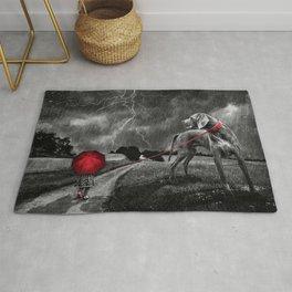 Triste Day Thunderstrike Little Girl Red Umbrella And Giant Dog On Leash Ultra HD Rug