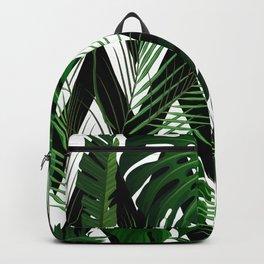 Geometrical green black white tropical monster leaves Backpack