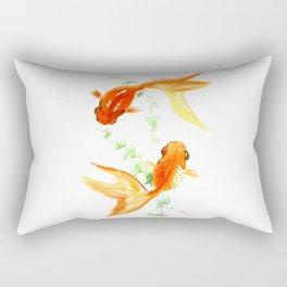 Goldfish, Feng Shui Asian Watercolor Rectangular Pillow