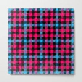 Hot Pink, Blue & Black Gingham Pattern Metal Print