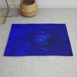 Royal Blue Fractal dahlia Rug