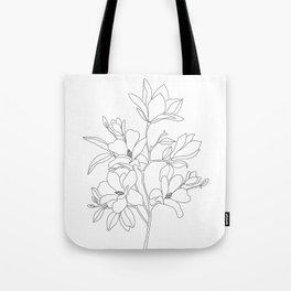 Minimal Line Art Magnolia Flowers Tote Bag