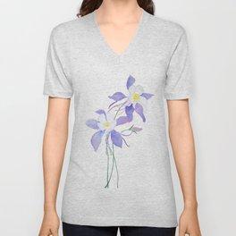 purple columbine flower Unisex V-Neck