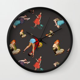pin  up pattern Wall Clock