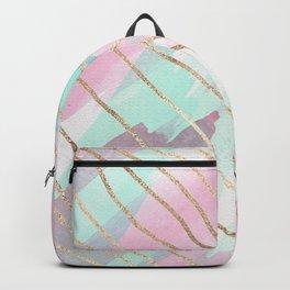 Girly Watercolor Pink Teal Purple Gold Brushstroke Backpack