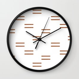 double dash in burnt orange on white Wall Clock