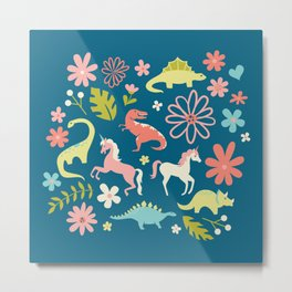Dinosaurs + Unicorns Metal Print