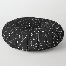 Zodiac Signs Constellations B&W Floor Pillow