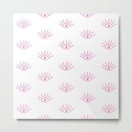 Light Pink Evil Eye Pattern Metal Print